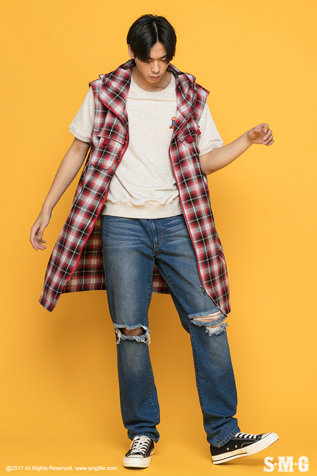 J-1702_Plaid Hooded Vest-01