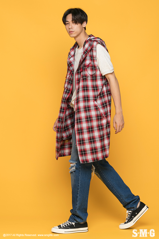 J-1702_Plaid Hooded Vest-02