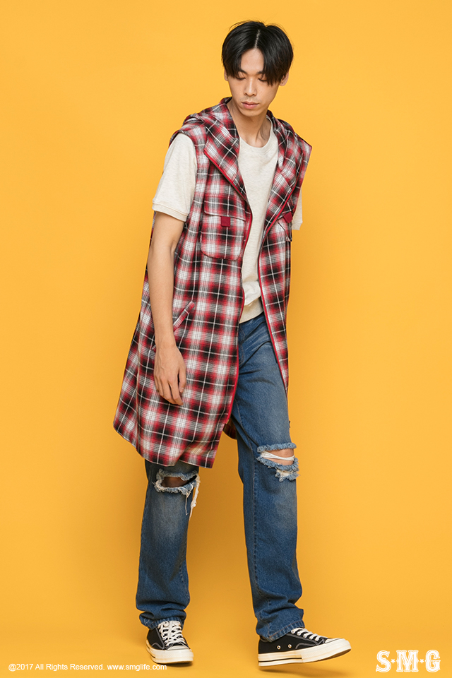 J-1702_Plaid Hooded Vest-03