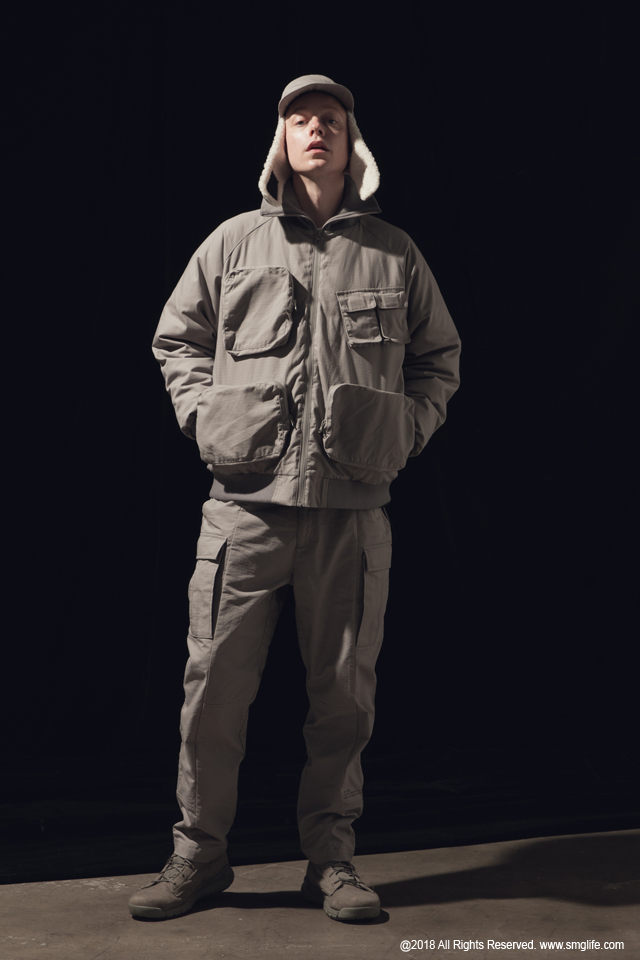 SMG2018_J-1817_High Neck Multiple Pocket Bomber JacketModelcut01
